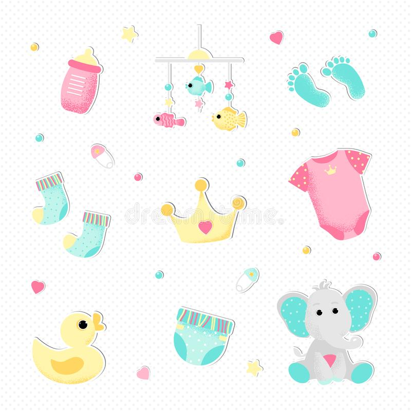 Plan stil f?r en flickababy shower vektor illustrationer