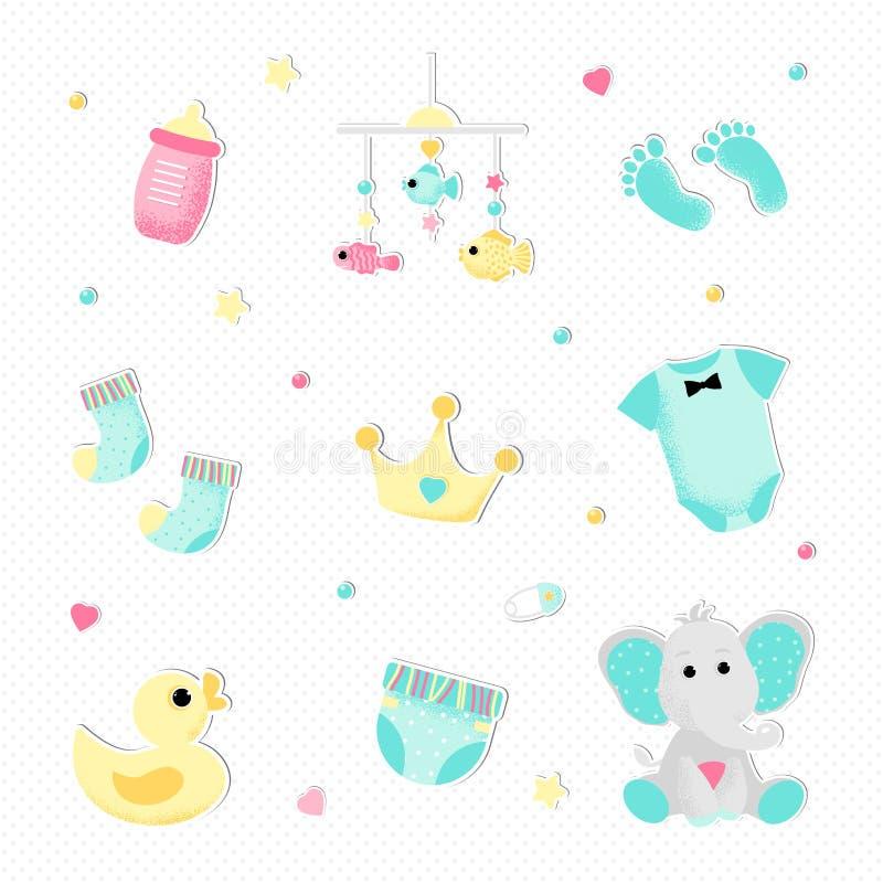 Plan stil f?r en pojkebaby shower royaltyfri illustrationer