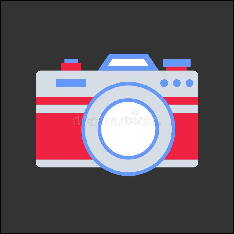 Plan stil för kamera med mörk bakgrund royaltyfri illustrationer