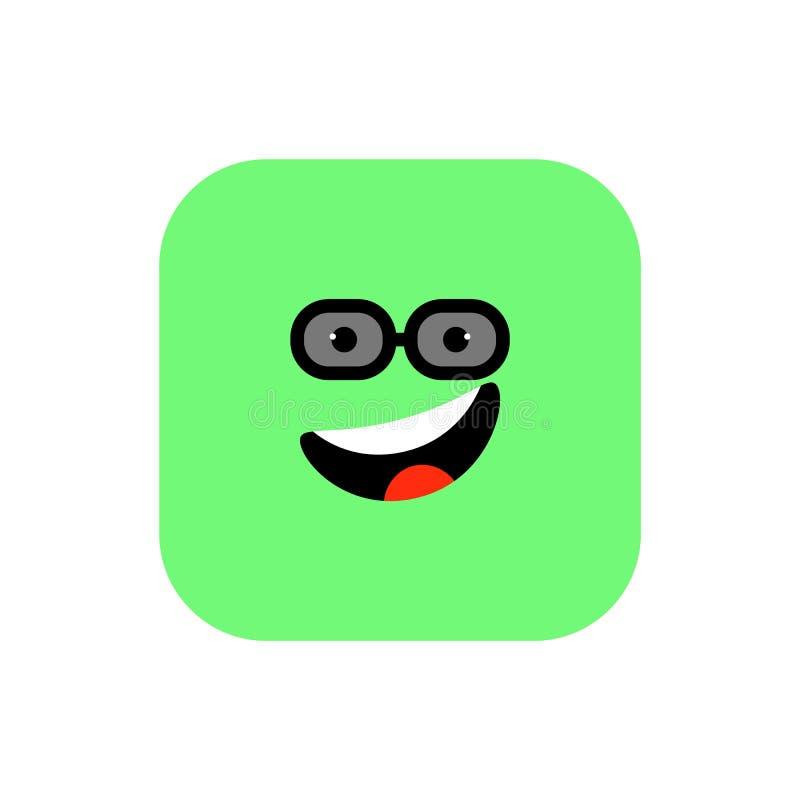 Plan stil för lycklig Emoji symbol Rundad fyrkant för gullig Emoticon till världsleendedagen Gladlynt Lol som tycker om framsidan royaltyfri illustrationer