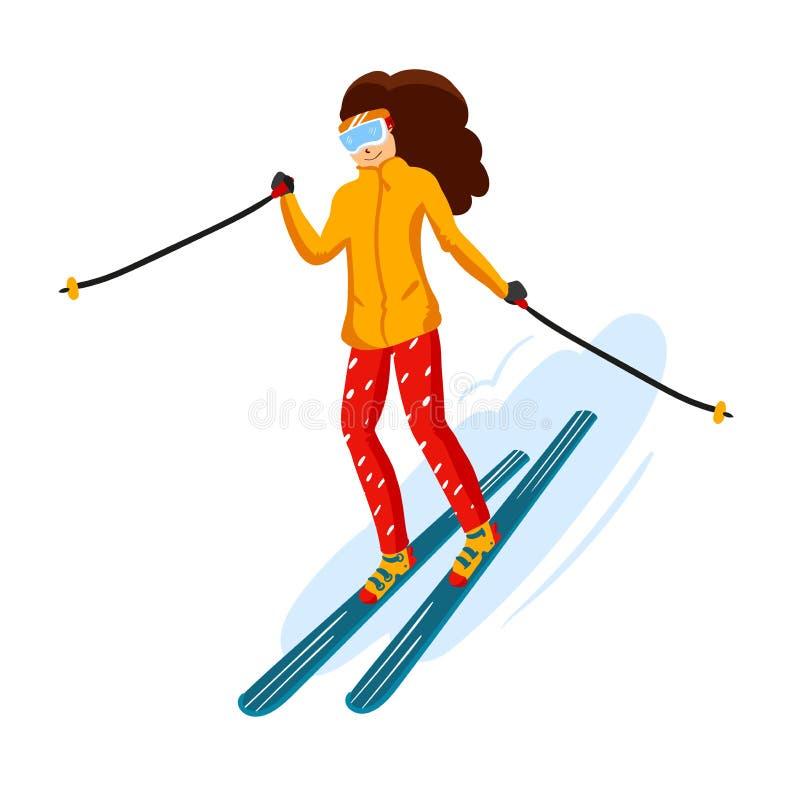 Plan stil för vektorskidåkaretecknad film Kvinnan i skidar semesterorten Aktivitet för vintersport Enkla tecken Isolerat på vit royaltyfri illustrationer