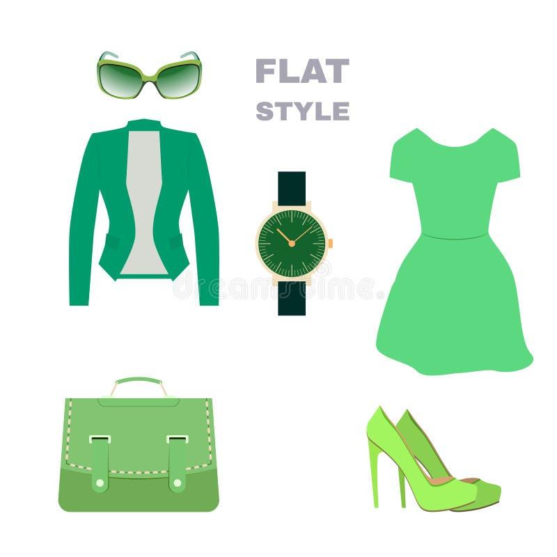 Plan stil Kvinna look Modekläder vektor stock illustrationer