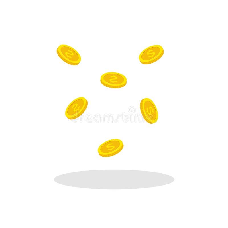 Plan stil som flyger guld- mynt Myntar den fallande vektorillustrationen för pengar stock illustrationer