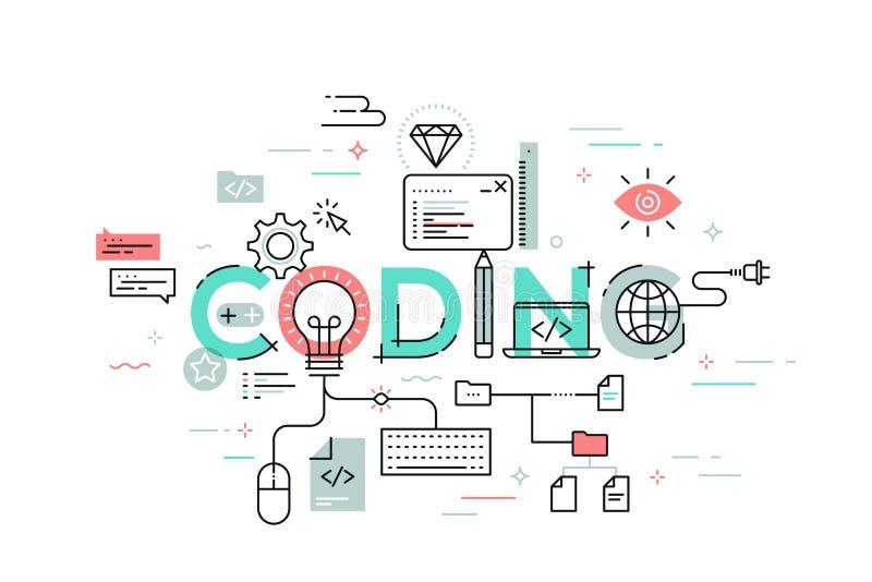 Plan stil, tunn linje banerdesign av att kodifiera stock illustrationer
