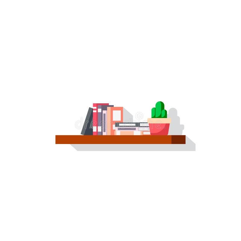 Plan stilbookshelvesymbol stock illustrationer