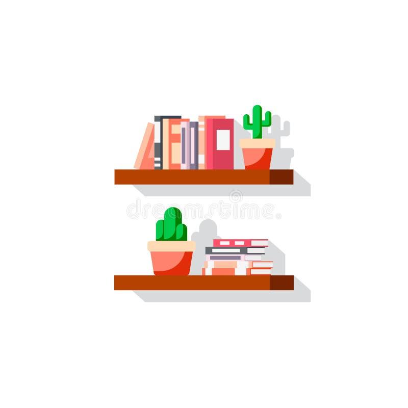 Plan stilbookshelvesymbol royaltyfri illustrationer
