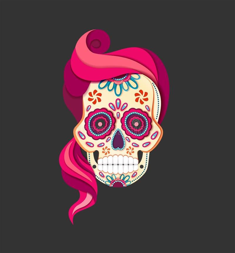 Plan stildag av den kvinnliga döda Sugar Skull med rosa hår Pappers- snitt Calavera royaltyfri illustrationer