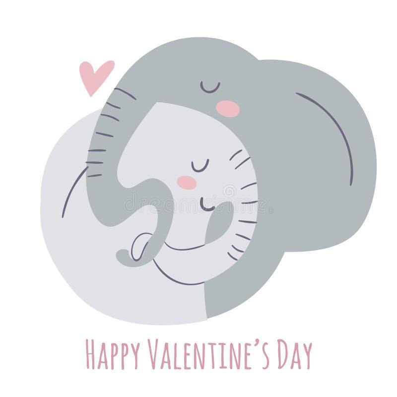 Plan stilillustration för vektor med förälskelse och elefanter vektor illustrationer