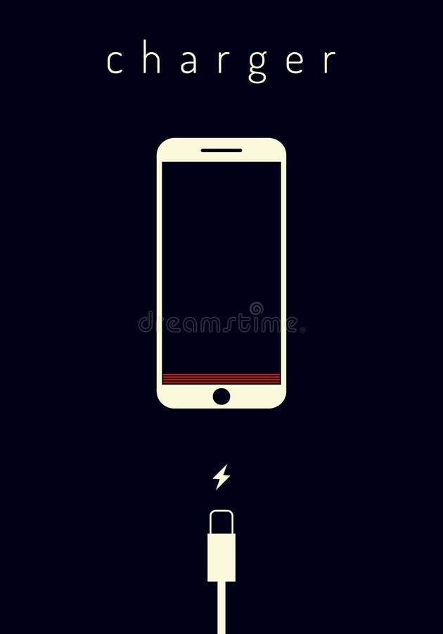 Plan stilillustration Mobila smartphones som laddar på mörker - blå bakgrund Telefon med en låg batteriladdning och med USB vektor illustrationer