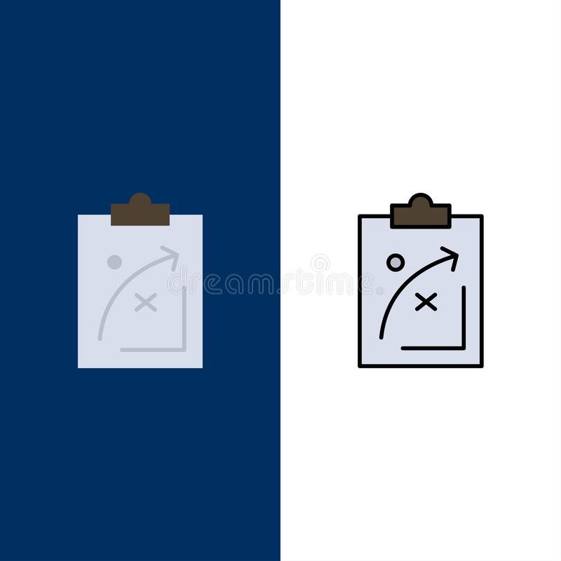 Plan, stratégie, stratégie, tactique, économie, marché, icônes Arrière-plan bleu vectoriel de l'ensemble d'icônes à plat et à lig illustration de vecteur