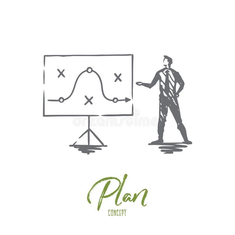 Plan strategi, marknadsföring, projekt, taktiskt begrepp Hand dragen isolerad vektor stock illustrationer