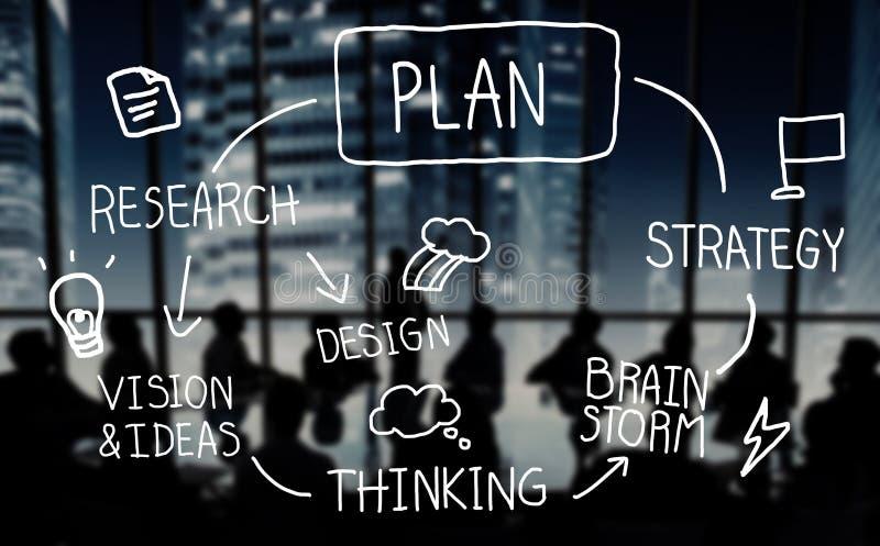 Plan strategia Brainstorming Myślącego twórczość sukcesu pojęcie ilustracja wektor