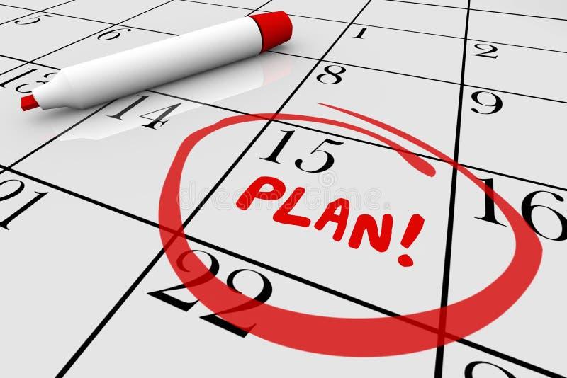 Plan strategii początek Zaczyna misja Kalendarzowego dnia data ilustracji
