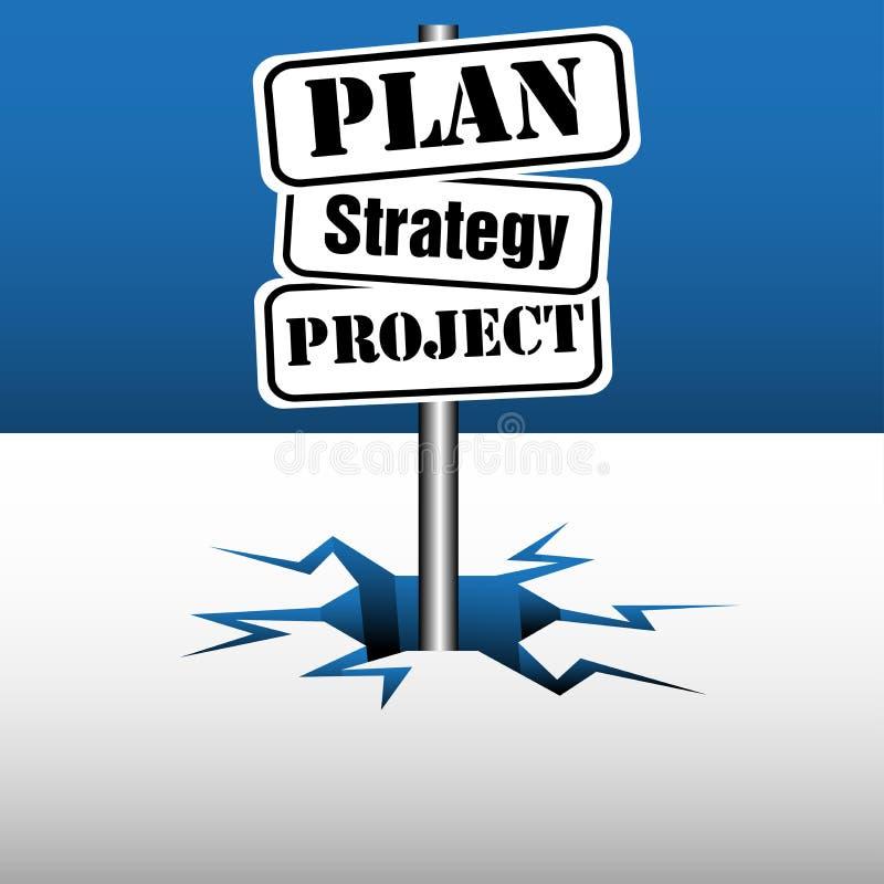 Plan strategii projekta kierunkowskaz royalty ilustracja