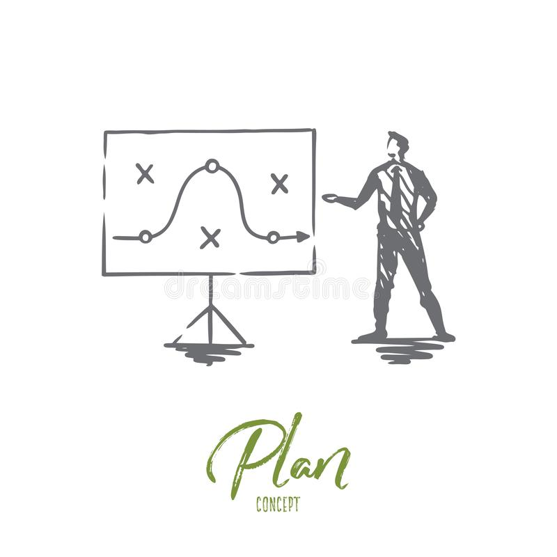 Plan, strategy, marketing, project, tactic concept. Hand drawn isolated vector. stock illustration