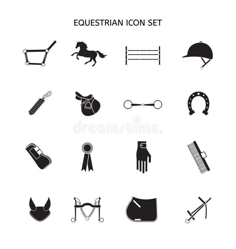 Plan svart uppsättning för vektor av hästutrustningsymbolen stock illustrationer