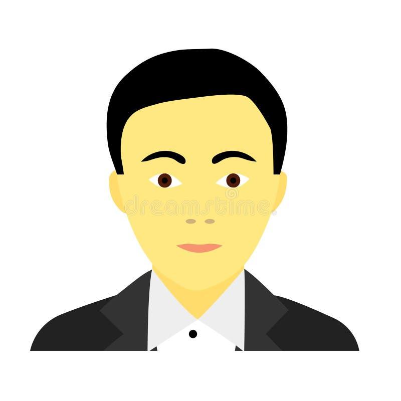 Plan symbol av den asiatiska mannen i dr royaltyfri illustrationer