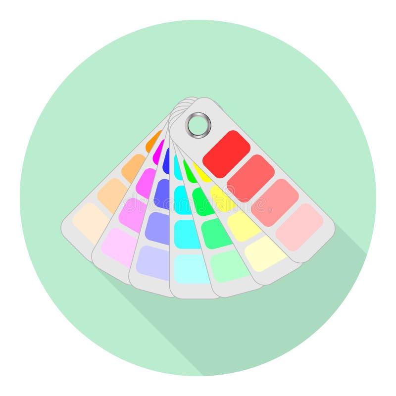 Plan symbol av färgfanen för val av olika färger royaltyfri illustrationer