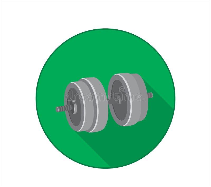 Plan symbol av hanteln för armstyrkautbildning Grön bakgrund med skugga arkivfoto