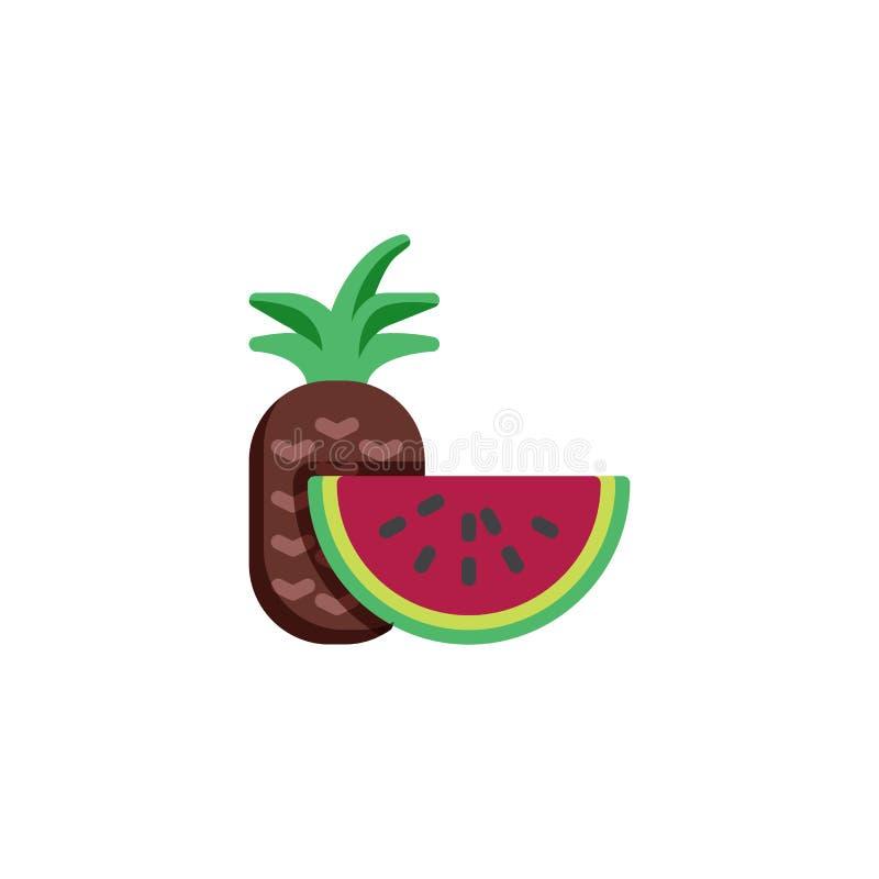 Plan symbol för ananas- och vattenmelonskiva vektor illustrationer