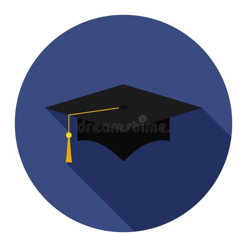 Plan symbol för avläggande av examenlock på blå bakgrund stock illustrationer