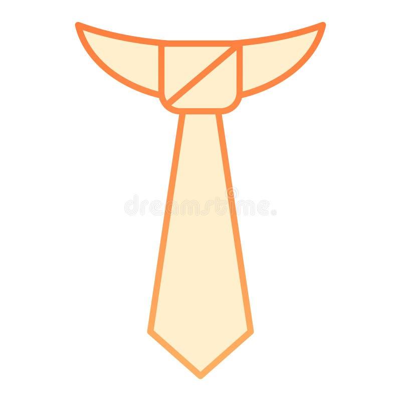 Plan symbol för band Orange symboler för slips i moderiktig plan stil Formell design för kläderlutningstil som planläggs för reng stock illustrationer