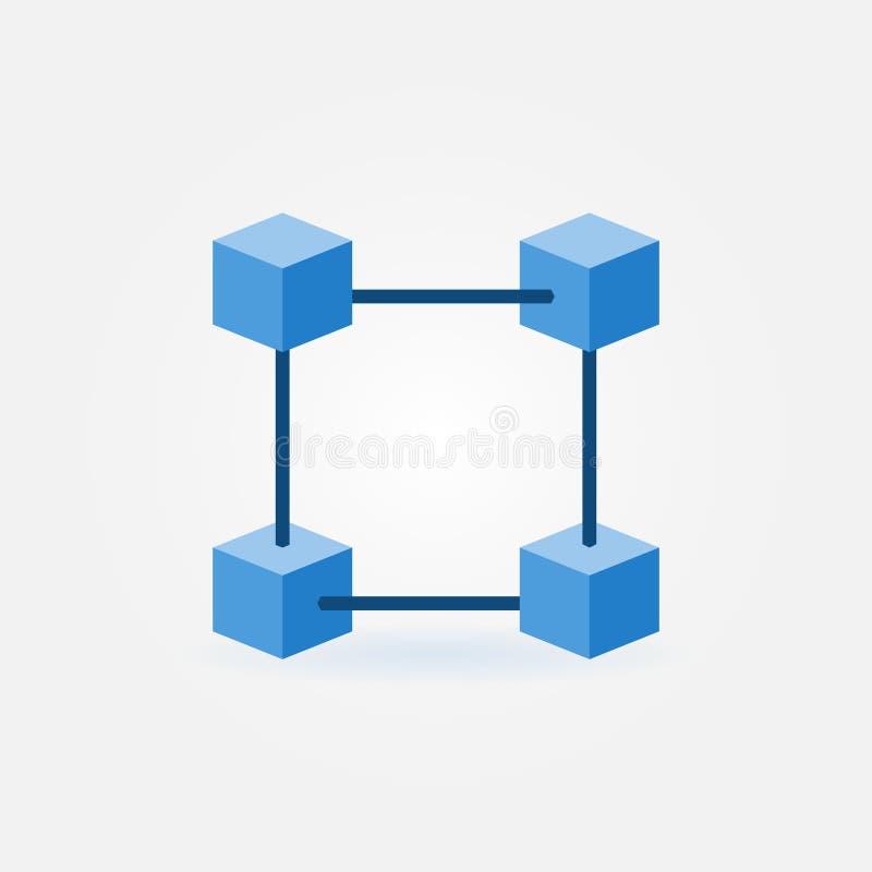 Plan symbol för blockchainvektorblått vektor illustrationer