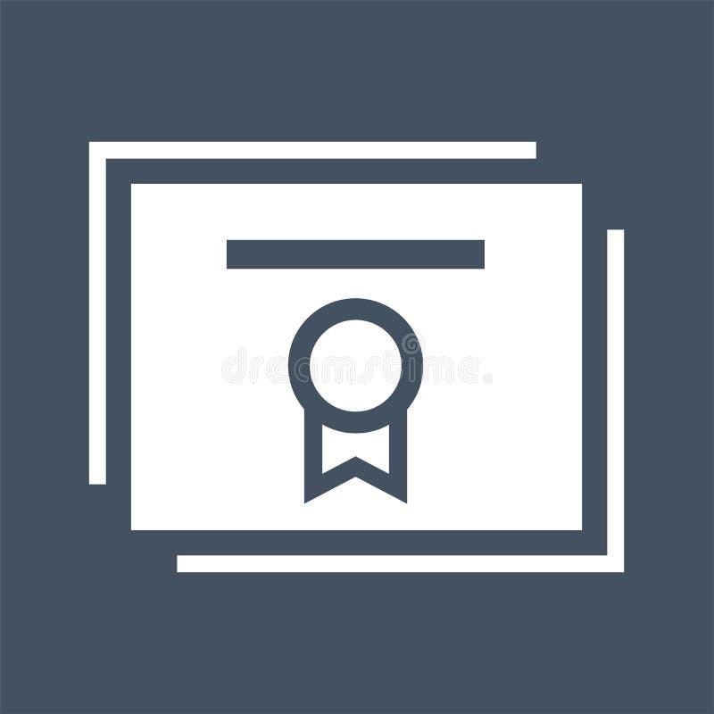 Plan symbol för certifikat Vit symbol på mörk bakgrund royaltyfri illustrationer