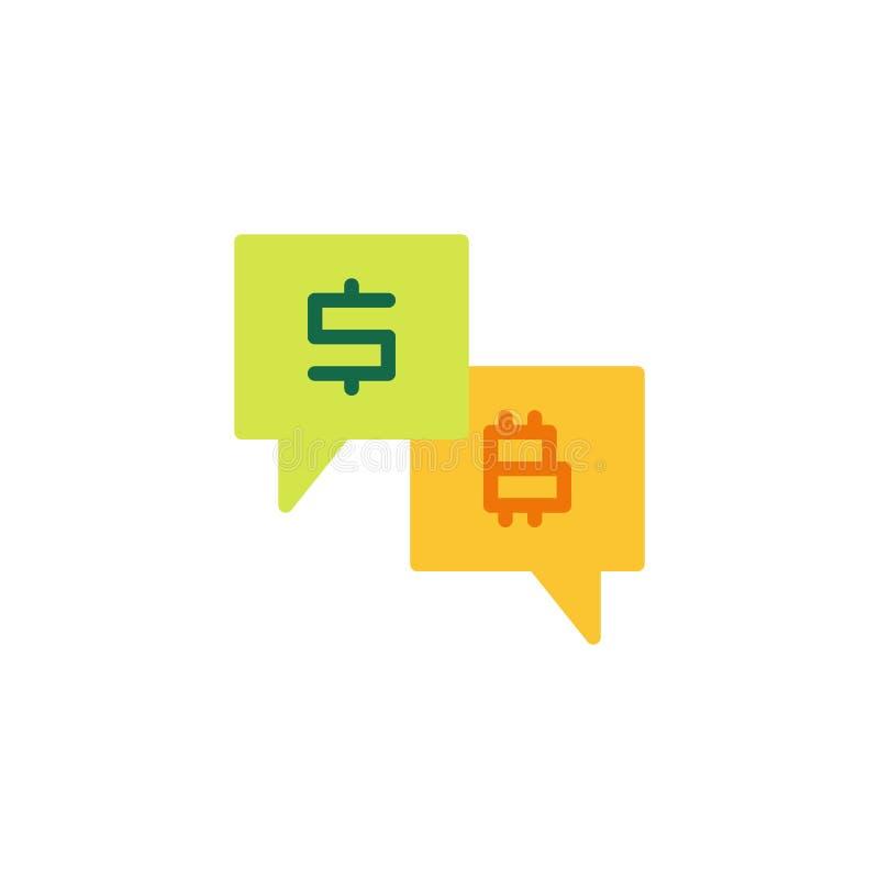 Plan symbol för dollar och för bitcoinanförandebubbla royaltyfri illustrationer