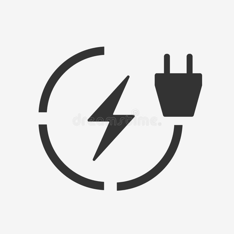 Plan symbol för elbiluppladdningsstation Electro symbol för maktmedelladdning stock illustrationer