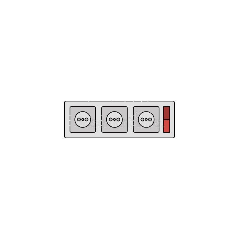 Plan symbol för elektricitet stickkontakter royaltyfri illustrationer
