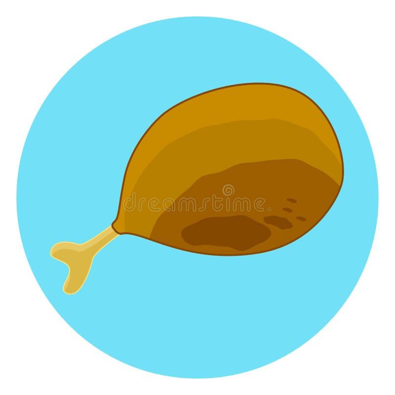 Plan symbol för färgstekt kycklinglår, isolerat fegt ben för småfisk vektor illustrationer