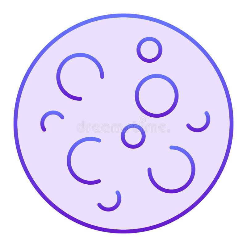 Plan symbol för fullmåne Måne med violetta symboler för krater i moderiktig plan stil Design för utrymmelutningstil som planläggs stock illustrationer