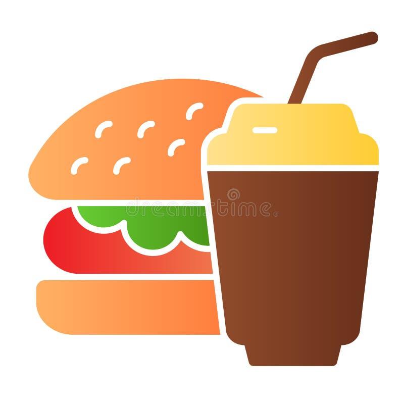 Plan symbol för hamburgare och för sodavatten Symboler för snabbmatfärg i moderiktig plan stil Design för hamburgare- och drinklu royaltyfri illustrationer