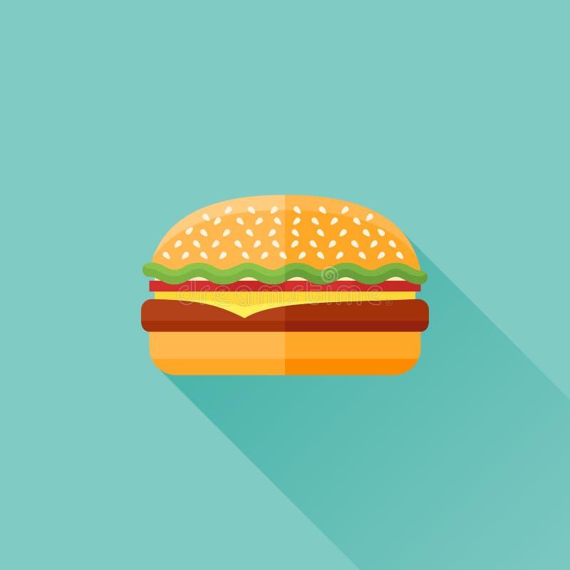 Plan symbol för hamburgare också vektor för coreldrawillustration royaltyfri illustrationer