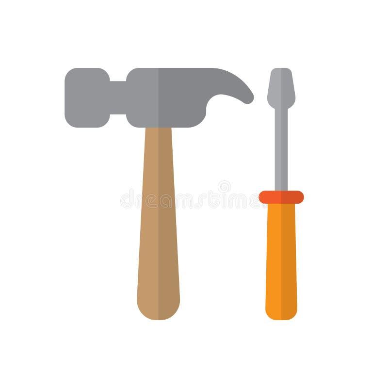 Plan symbol för hammare och för skruvmejsel, fyllt vektortecken, färgrik pictogram som isoleras på vit stock illustrationer