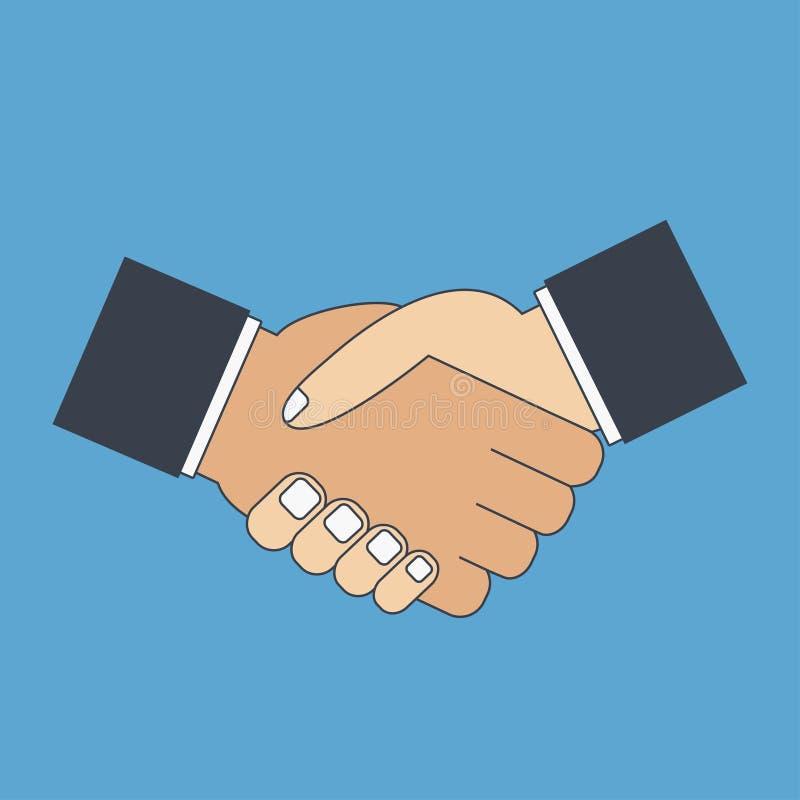 Plan symbol för handskakning highen för händer 3d framför upplösningsshake Hälsning partnerskap, stock illustrationer