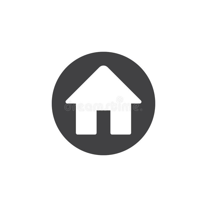 Plan symbol för hem Rund enkel knapp, runt vektortecken vektor illustrationer