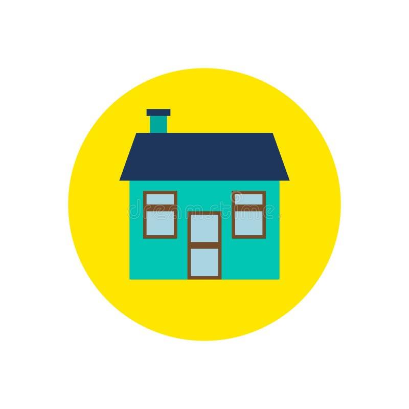 Plan symbol för hus Rund färgrik knapp, hem- runt vektortecken, logoillustration royaltyfri illustrationer