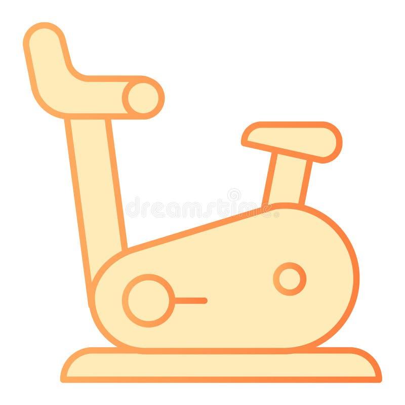 Plan symbol för idrottshallcykel Orange symboler för kondition i moderiktig plan stil Design för motionscykellutningstil som plan vektor illustrationer