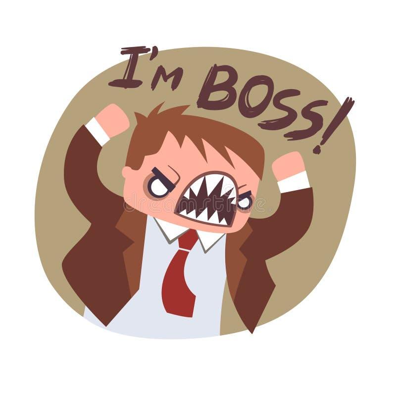Plan symbol för ilsket framstickande Rolig kontorsaffischmotivator Retro tappningfärger stock illustrationer