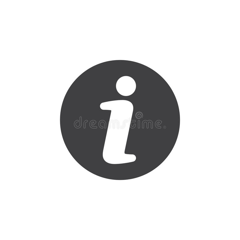 Plan symbol för information Rund enkel knapp, runt vektortecken vektor illustrationer
