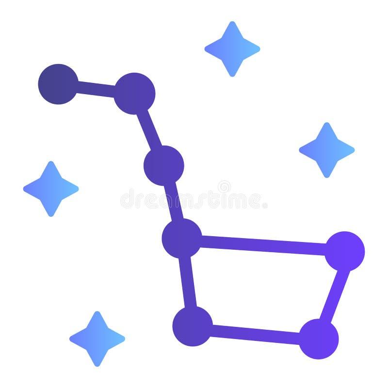 Plan symbol för Karlavagnen Symboler för konstellationUrsa Major färg i moderiktig plan stil Design för stjärnalutningstil som pl royaltyfri illustrationer