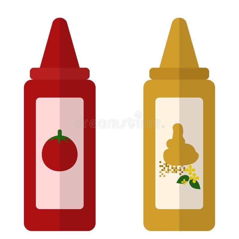 Plan symbol för ketchup och för senap stock illustrationer