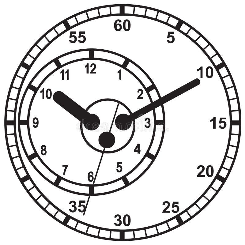 Plan symbol för klocka Stopwatch som jordjordklotet på en vitbakgrund royaltyfri illustrationer