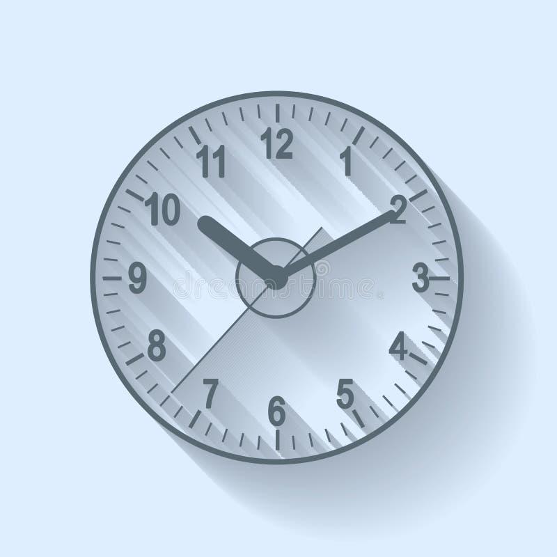 Plan symbol för klocka Stopwatch som jordjordklotet på en vitbakgrund stock illustrationer
