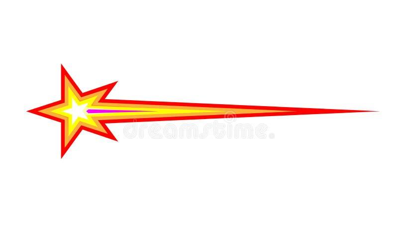 Plan symbol för komet, för meteorit eller för gnista Planlagd vektorillustration som isoleras på ljus bakgrund För design och att vektor illustrationer