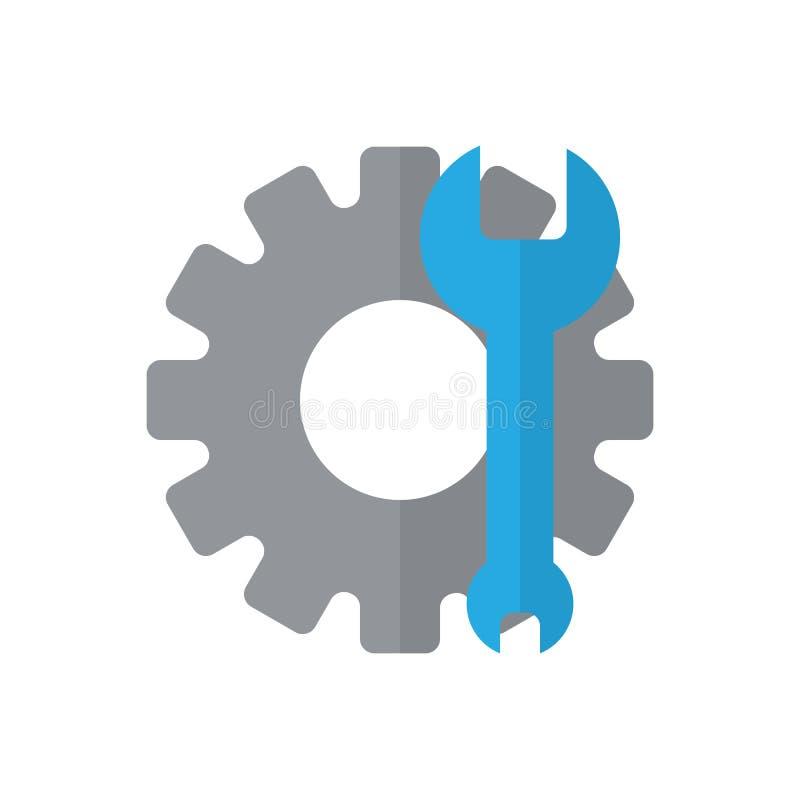 Plan symbol för kugghjul och för skiftnyckel, fyllt vektortecken, färgrik pictogram som isoleras på vit royaltyfri illustrationer