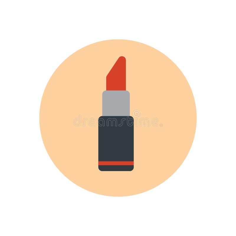 plan symbol för läppstift Rund färgrik knapp, tecken för vektor för skönhetskönhetsmedel runt, logoillustration stock illustrationer