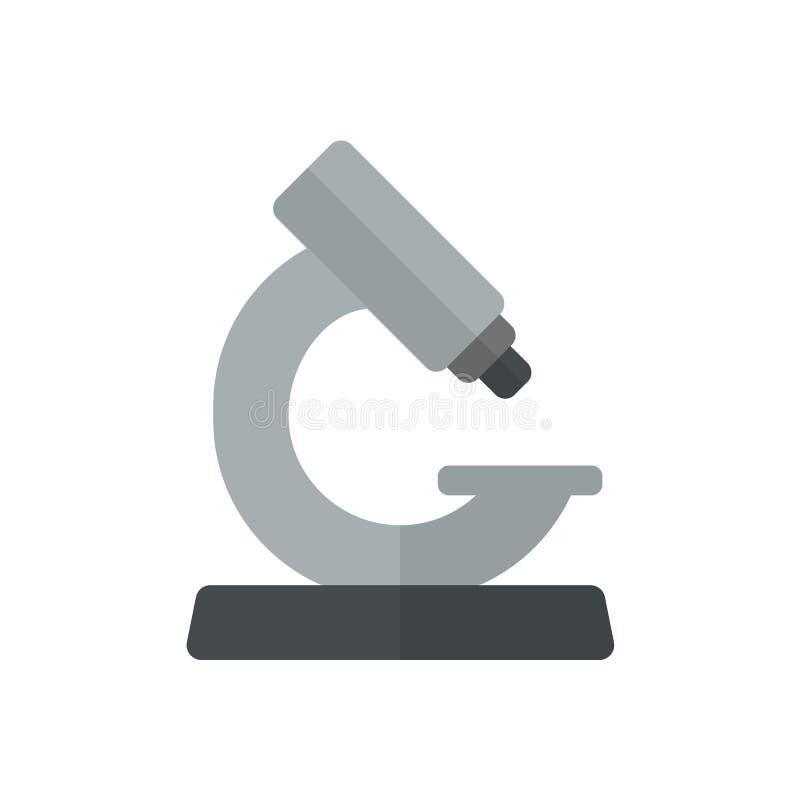 Plan symbol för mikroskop, fyllt vektortecken, färgrik pictogram som isoleras på vit stock illustrationer